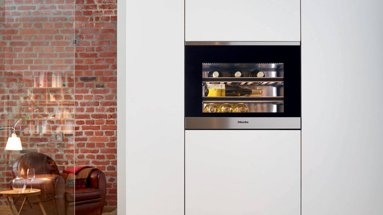 wine recessed cellar design by Miele