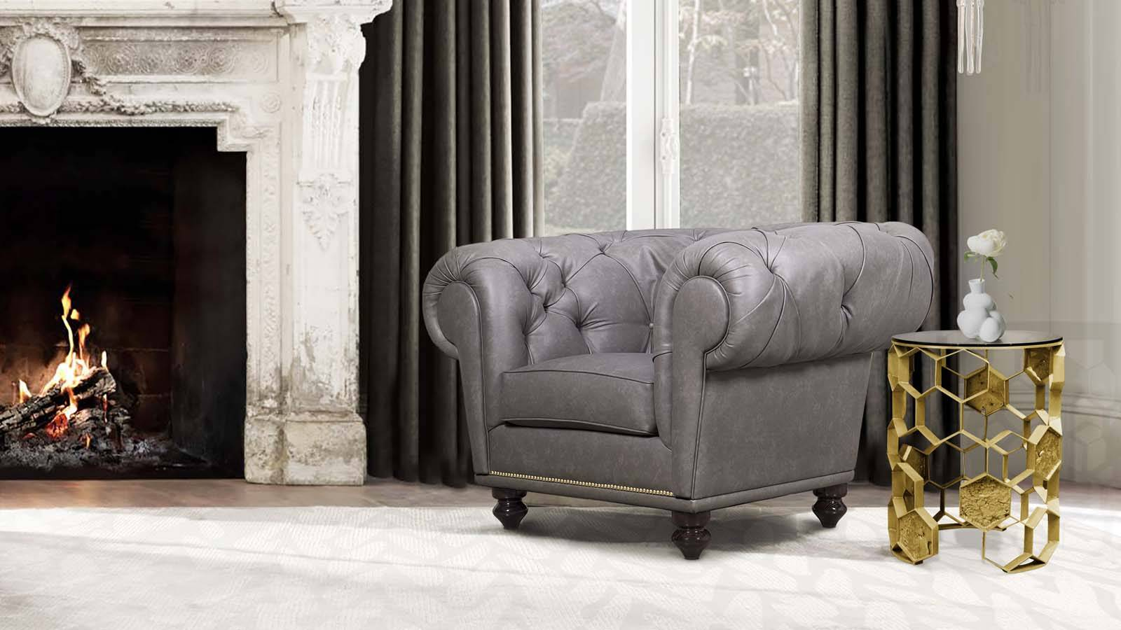 Boca do lobo armchair in grey leather gold small table luxury design portugal