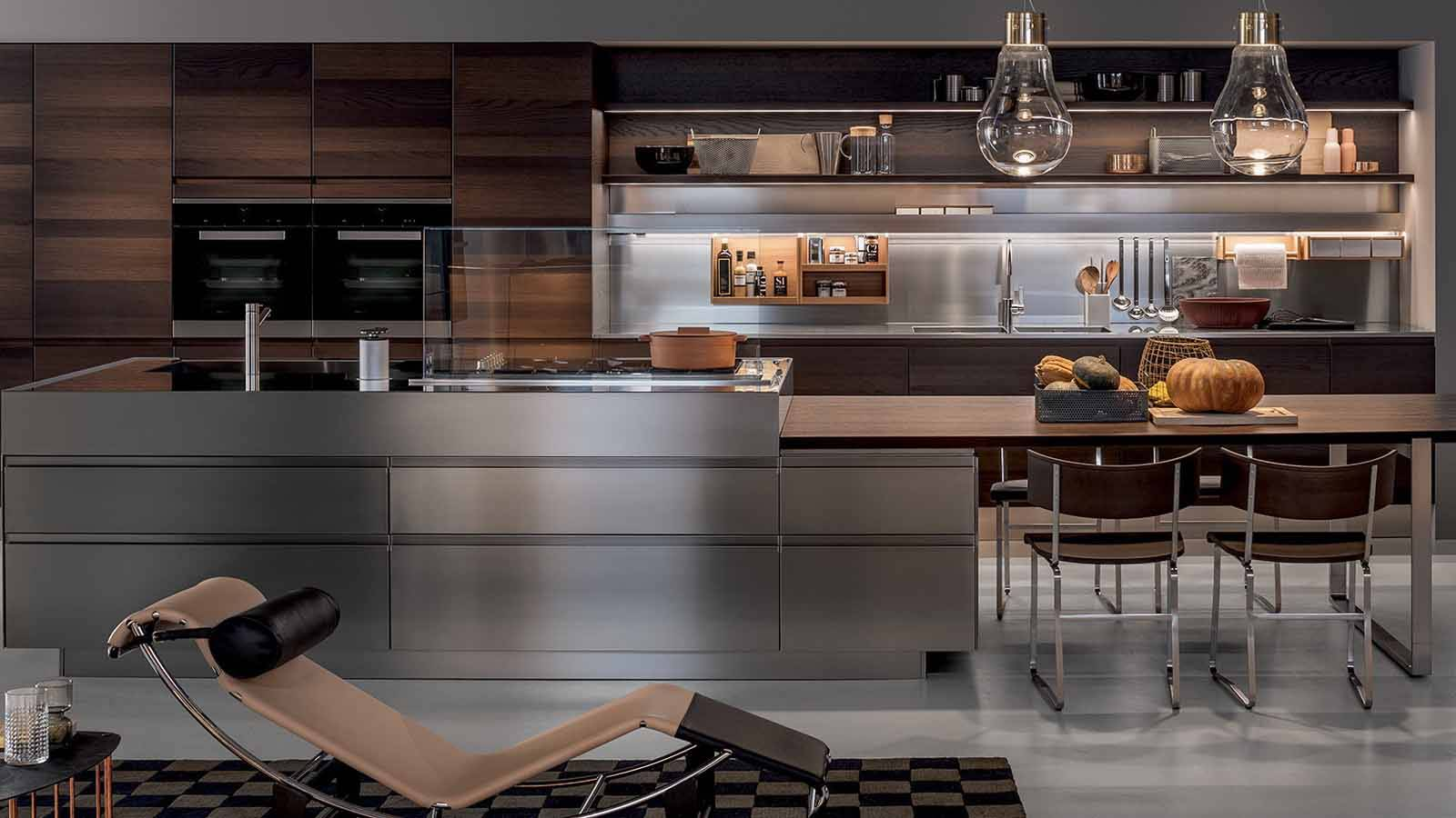 Arclinea milano kitchen convivium interior luxury design antonio citterio legno metallo