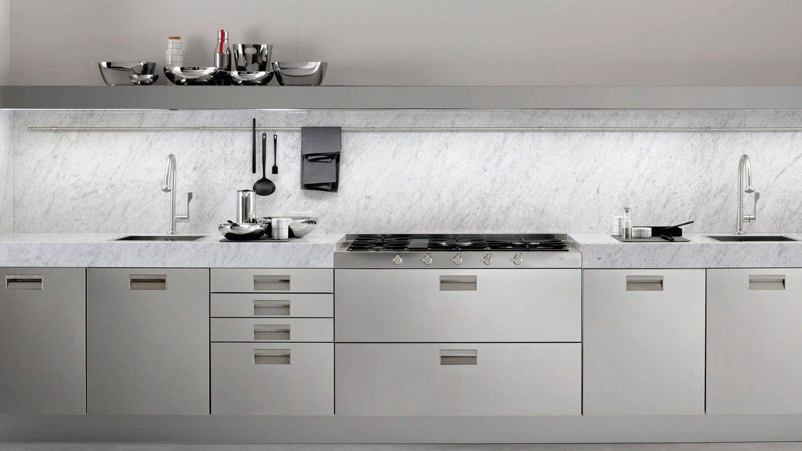 Arclinea milano kitchen italia principia stainless steel carrara marble grey luxury design interior
