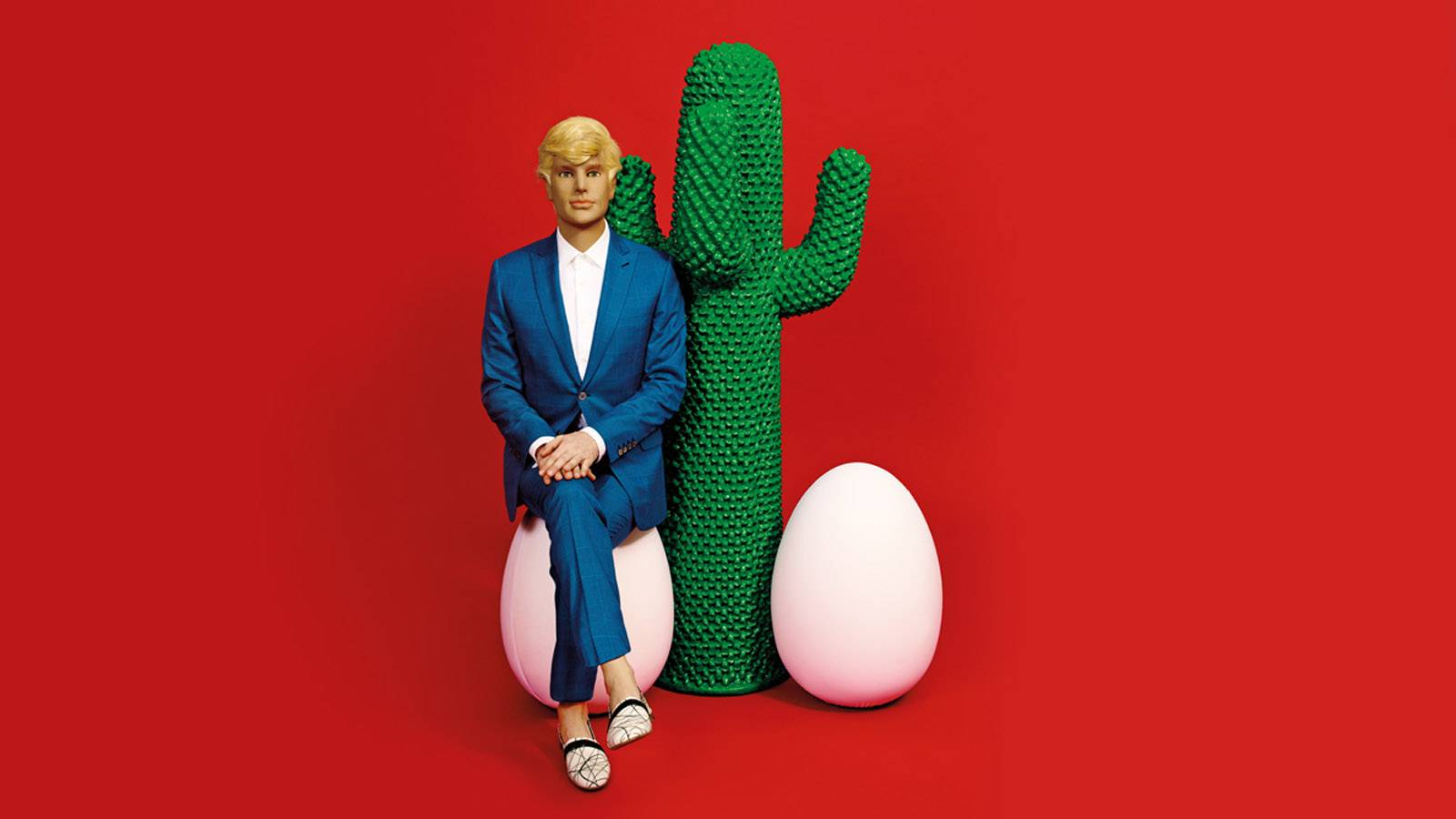 Gufram furniture cactus and egg on a red background with a mannequin