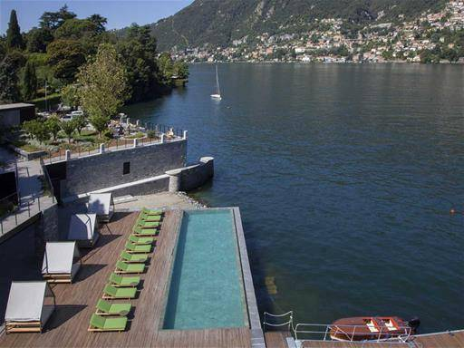 swimming pool hotel overlooking Lake Como