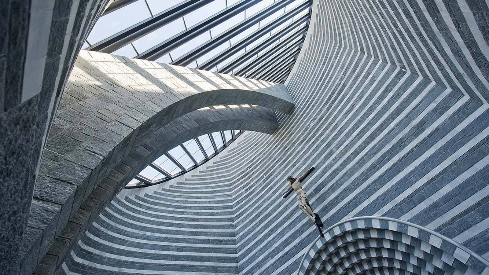 Mario Botta design church with skylight
