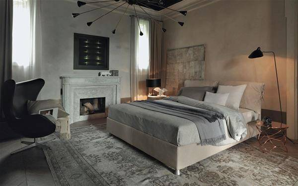 Flou bedroom beds with fireplace