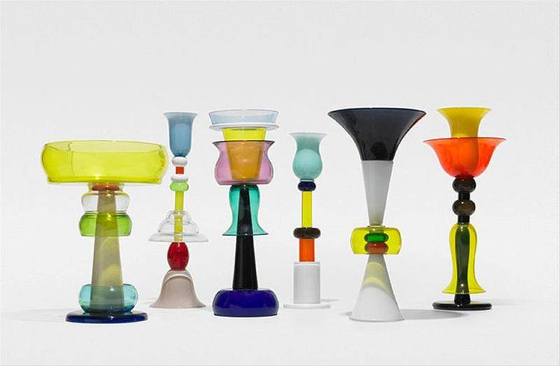 Vasi Venini by Ettore Sottsass, colors are the protagonists of these vases.