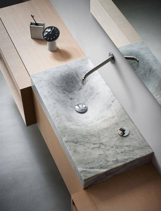 Luxury bathroom: Agape's 815 Sink in granite seen from above