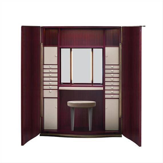 Promemoria Furniture: Alchemico Lei: wide wooden wardrobe with leather shelvings. Image of the inter