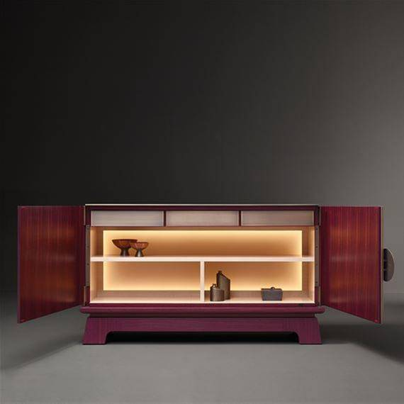 Promemoria Furniture: La Belle Aurore, low wooden shelf with open doors