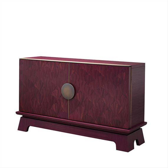 Promemoria Furniture: La Belle Aurore, low wooden shelf with wooden doors and handles in circular br