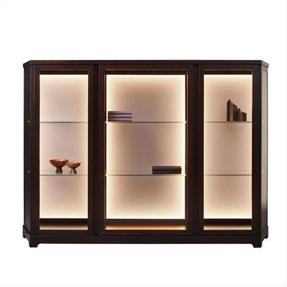 Promemoria Furniture: Nefertiti container, wooden furniture with glass shelvings and doors on  a whi