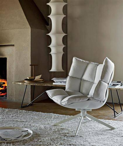 Design Armchair: Husk armchair by B&B Italia in a bedroom