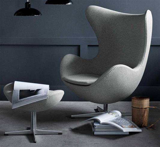 Design Armchair: Egg Chair by Fritz Hansen in a grey ambiance