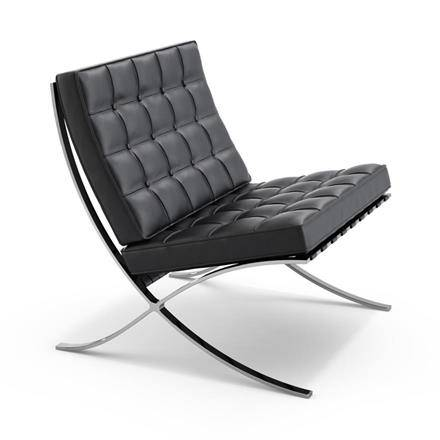 Design Armchair: black Barcelona armchair by Knoll in a white background
