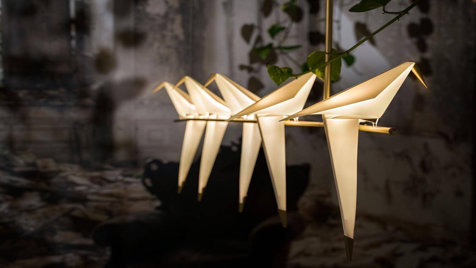 La lampada Moooi Perch Light Branch è presentata appesa a un soffitto avvolta da edera, in primo pia