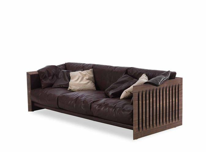 A model of the Soft Wood sofa with a wooden structure and black leather cushioning on a white backgr
