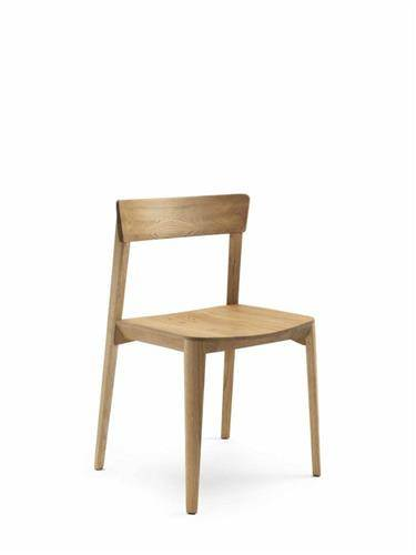 Mia Wood chair in light wood on a white background.