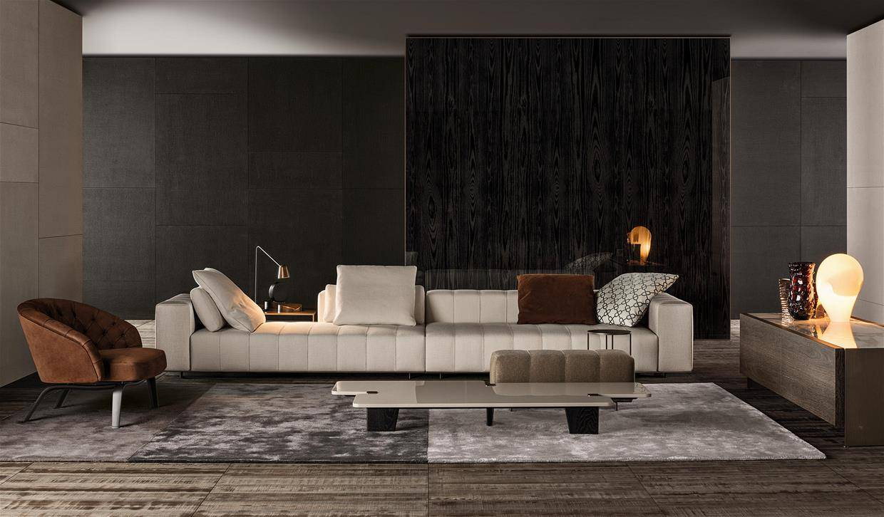 Minotti_outlet_sale_sag80_milan_sofa_freeman_fabric_white.  Minotti_outlet_sale_sag80_milan_armchair_glover_leather_black