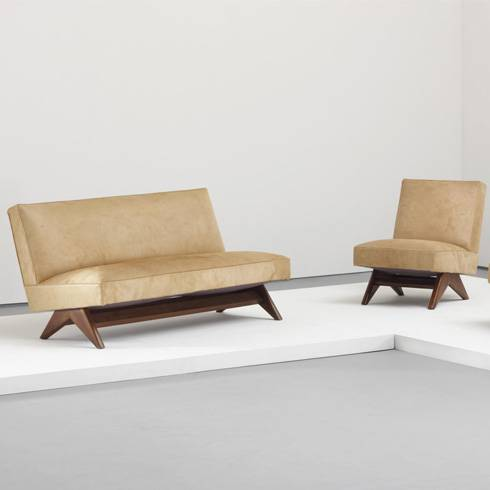 pierre jeanneret designer chandigarh India public bench wood leather beige white background