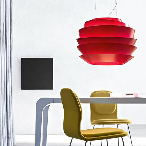 fashion_design_furniture_trends_2018 le soleil foscarini red suspension lamp white background