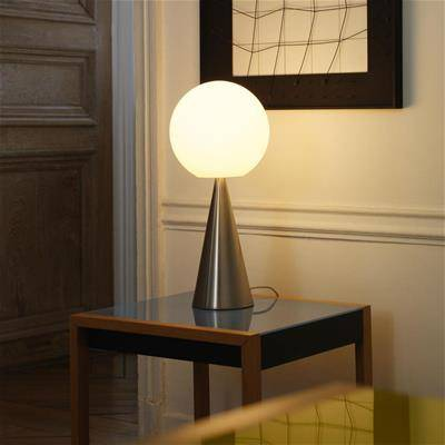 Bilia FontanaArte frosted glass lamp composed of a cone and a sphere a design by Gio Ponti