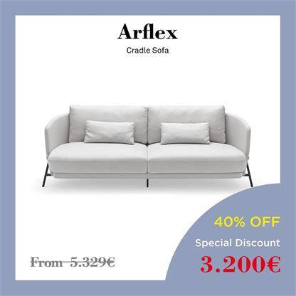 arflex cradle sofa Black metal and a brown leather belt