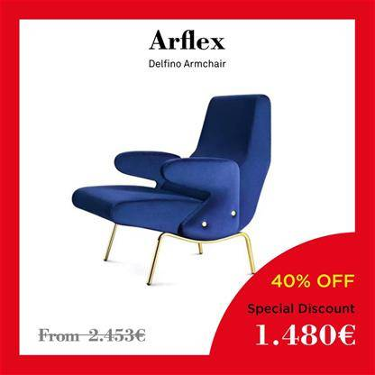 arflex delfino delfino gold lacquer structure and light-grey fabric