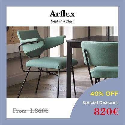 arflex neptunia chair sage green upholstery, rest on a black metal structure