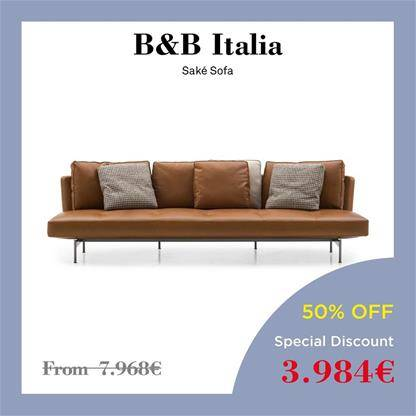 beb italia sake sofa curved seat back with sand coloured fabric