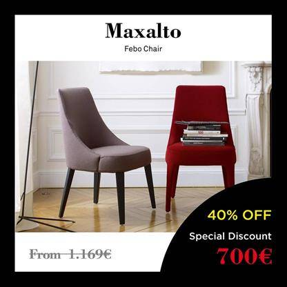 maxalto febo chair black velvet upholstery with stitching