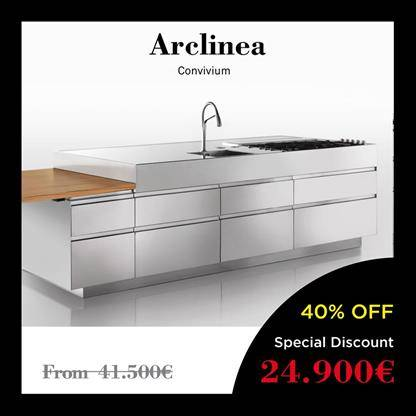 arclinea kitchens convivium, drawers and a vent hood made of Inox Steel