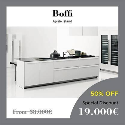 boffi kitchens aprile island The fronts are lacquered in matte white, while the counter in Corian