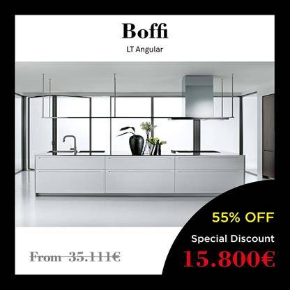 boffi lt angular kitchen inox counter, cabinets durmast colour graphite