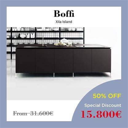 boffi kitchens xila island grey oak wood and black aluminium for the cabinets