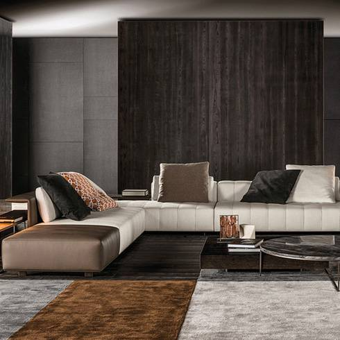Minotti Freeman sofa duvet tailor brown white colour leather ambience