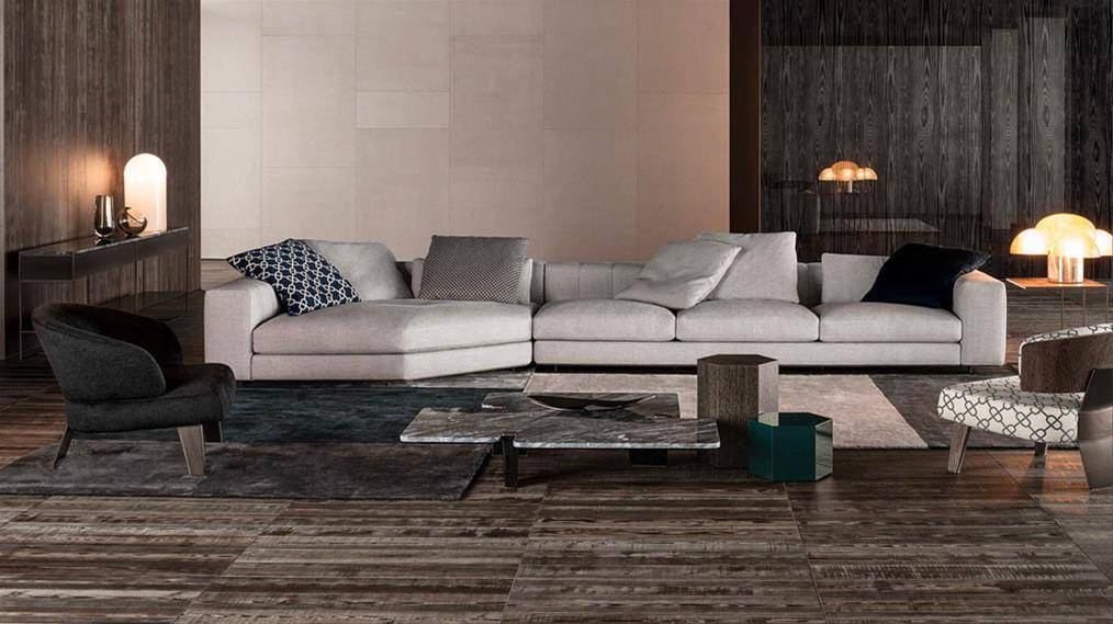 Minotti Freeman sofa duvet tailor white colour fabric ambience living room