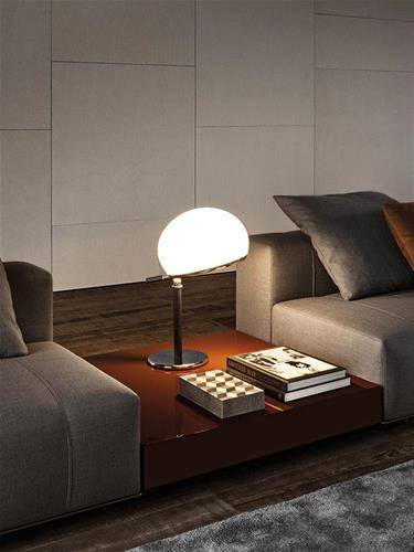 Minotti Freeman sofa duvet tailor grey colour leather living room lacquered lucid brown Ritter table