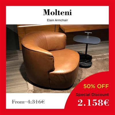 2019 Black Friday furniture deals Sag80 Molteni Elain armchair padded leather brown