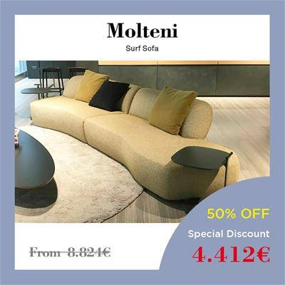 2019 Black Friday furniture deals Sag80 Molteni Surf sofa sinuous shape rounded edges